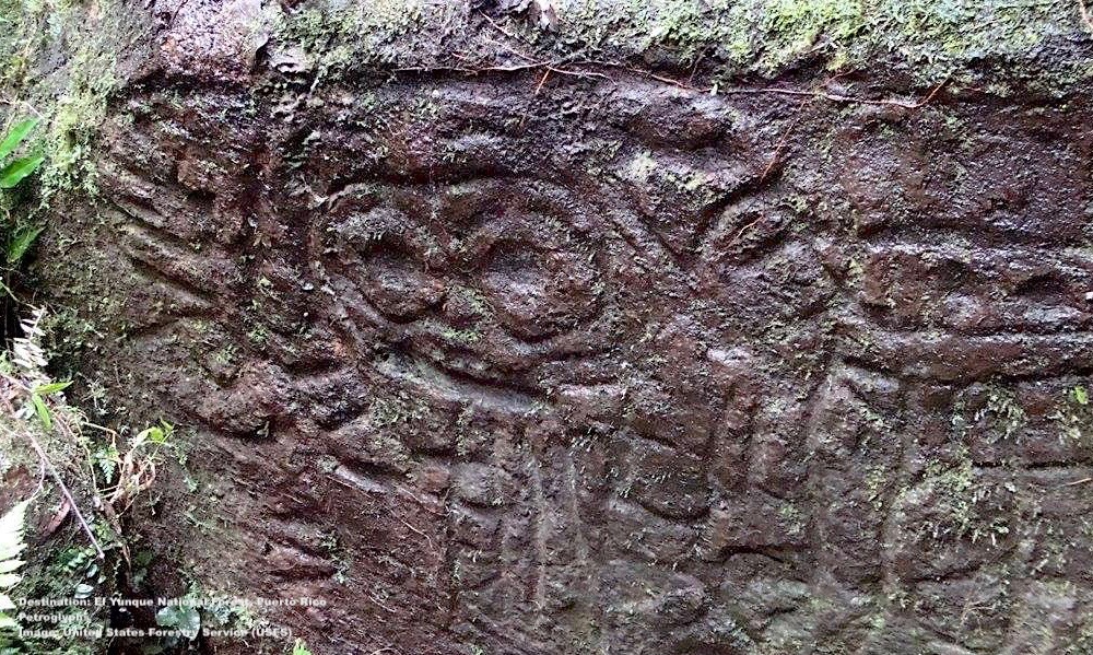 """NEAR Yuquiyú, IN THE ESPIRITÚ SANTO RIVER, ARE THE """"LA CARA DE INDIO"""" OR """"THE INDIAN FACE"""" PETROGLYPHS. IMAGE: UNITED STATES FORESTRY SERVICE"""