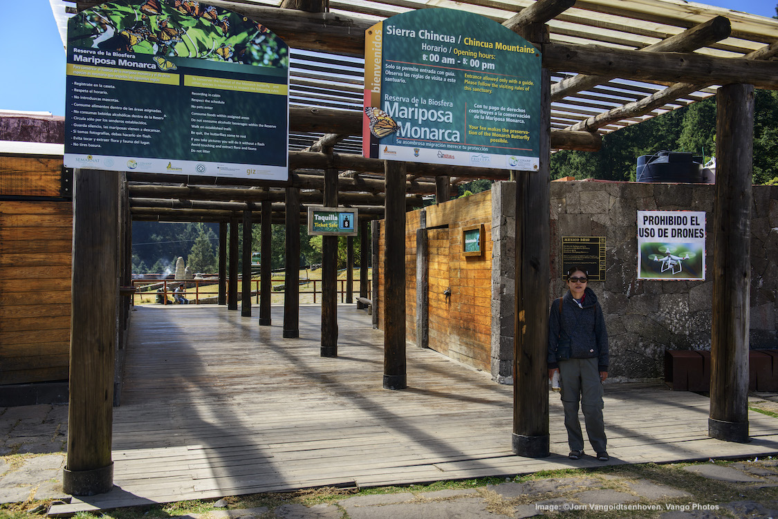 MY WIFE, HANNAH, AT THE ENTRANCE TO THE SIERRA CHINCUA RESERVA DE LA BIOSFERA MARIPOS MONARCA. IMAGE: ©Jorn Vangoidtsenhoven, Vango PHOTOS