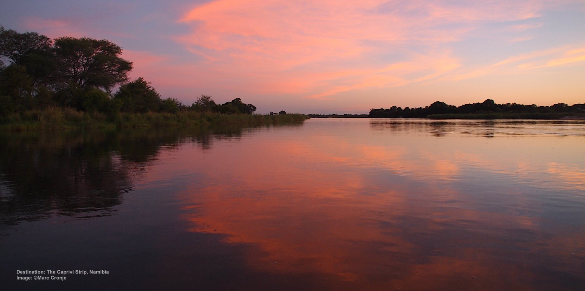 NAMIBIA IS FULL OF SURPRISES. THIS IS THE CAPRIVI STRIP, NAMIBIA'S NARROW PAN HANDLE, A LUSH DELTA REPLETE WITH WILDLIFE AND BIRDS. IMAGE:  ©MARC CRONJE