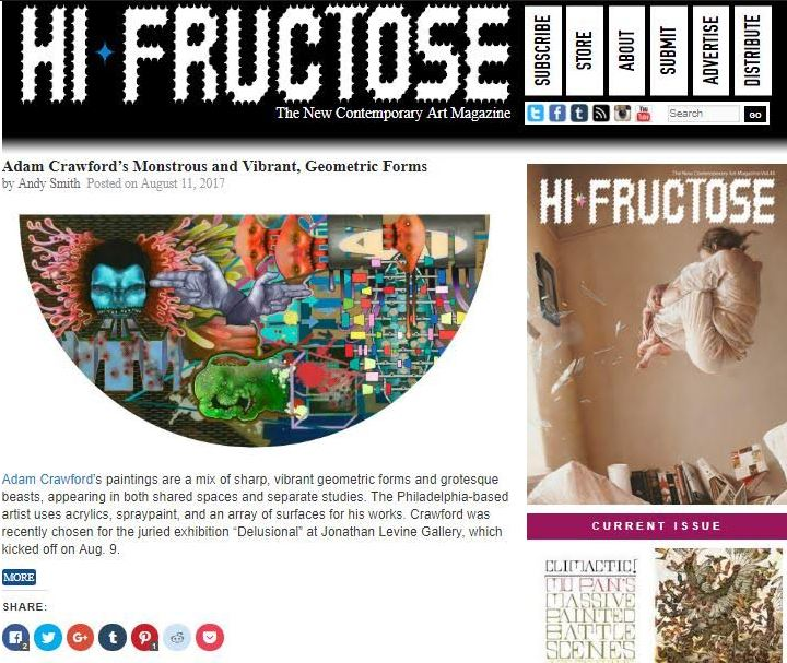 "Hi Fructose Magazine  article, ""Adam Crawford's Monstrous and Vibrant, Geometric Forms"".  Author: Andy Smith"