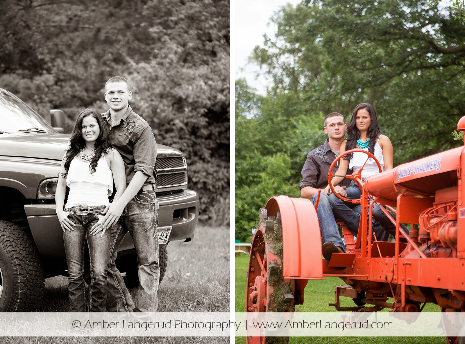Outdoor Country Engagement Pictures | Detroit Lakes Area Photographer | Engagement Photos with Truck & Tractor