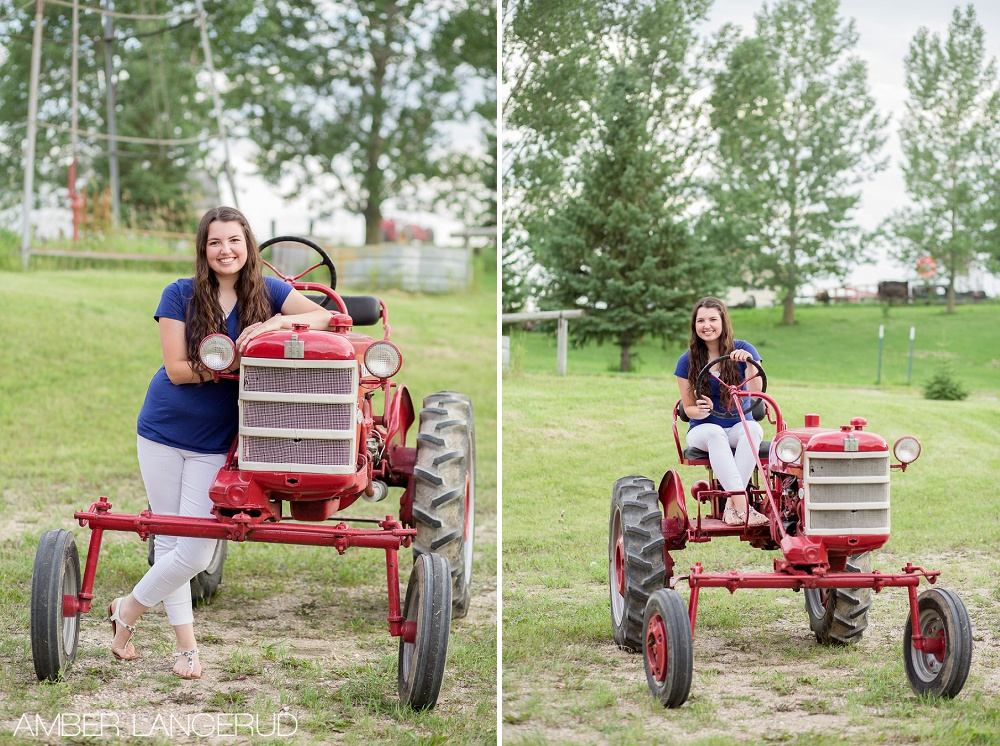Frazee High School Senior Pictures in Rollag, MN with Tractor