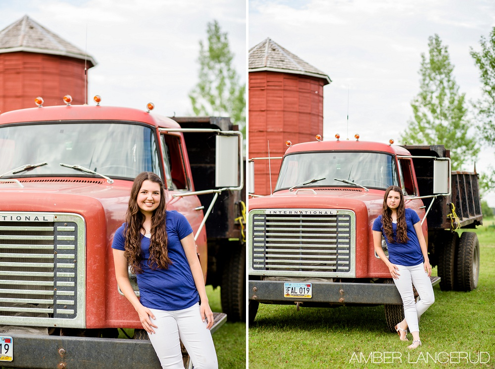 Frazee High School Senior Pictures in Rollag, MN with Truck