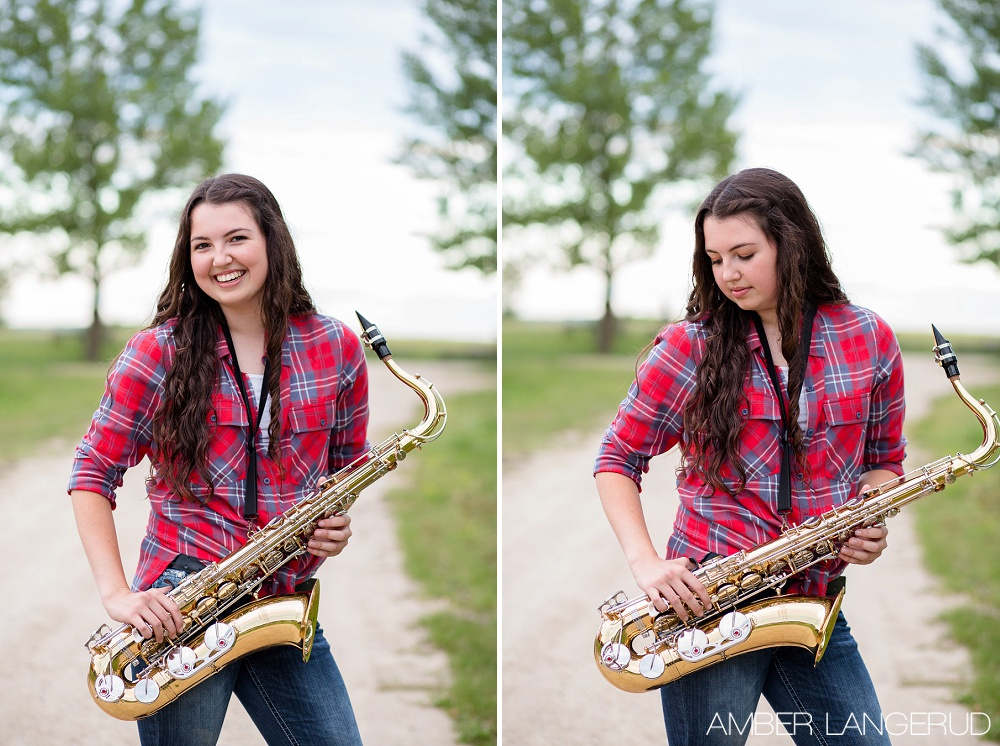 Frazee High School Senior Pictures in Rollag, MN with Saxophone