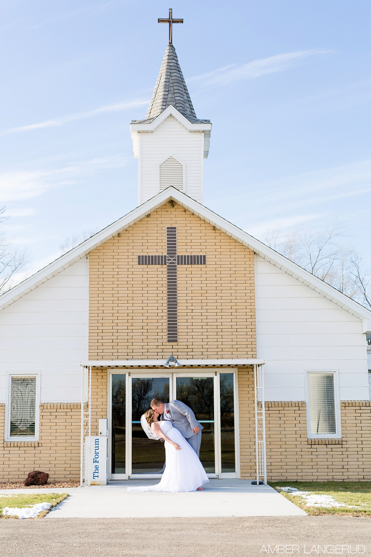 Rural North Dakota Country Church Wedding | Bride and Groom Portraits | The Dip | Gallchut, ND Church