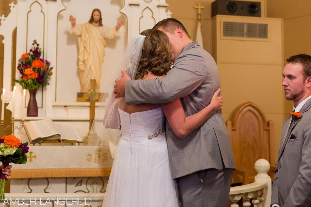 Rural North Dakota Country Church Wedding | The First Kiss