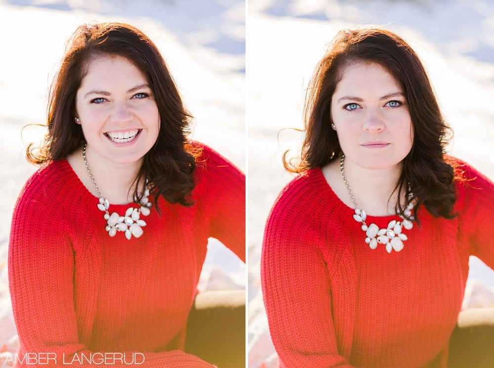 Audubon, MN Outdoor Winter Portraits | Red Sweater & Snow & Blanket