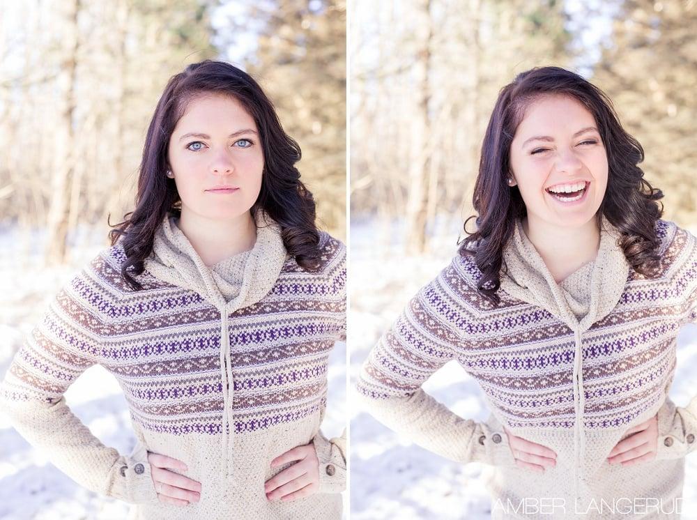 Audubon, MN Outdoor Winter Portraits | Winter Sweater & Pine Trees
