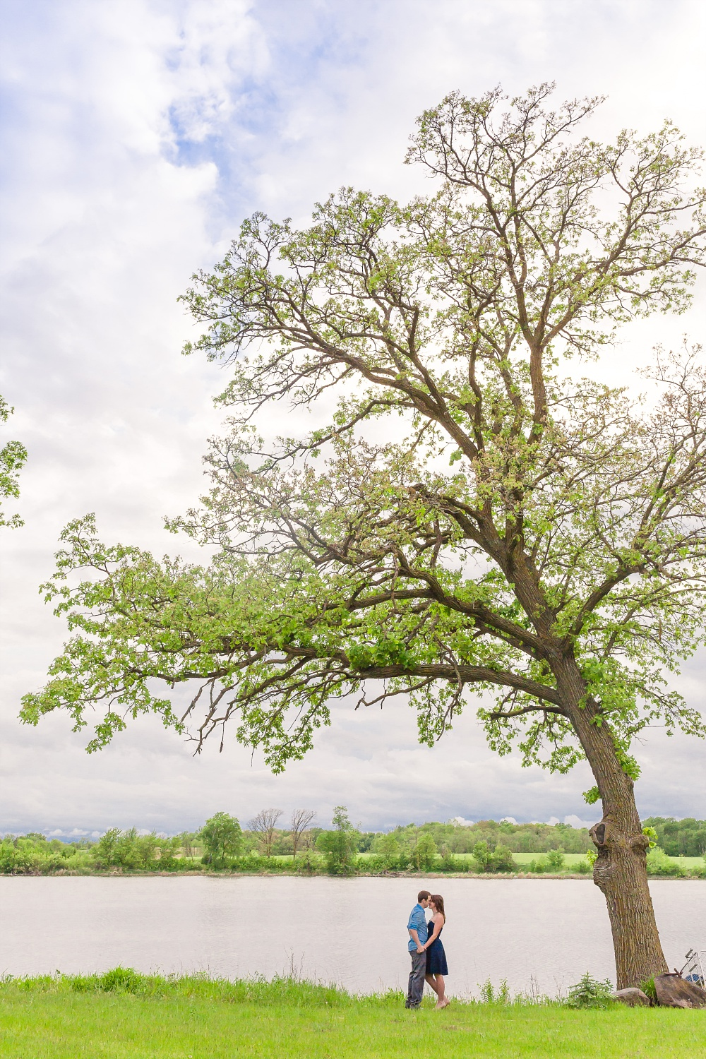 Anniversary photos under a large tree by the lake | Amber Langerud Photography