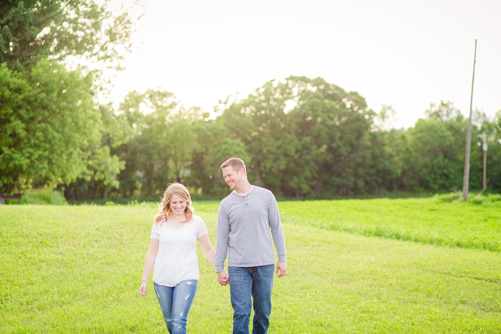 Couple walking | Outdoor, country styled engagement session near Audubon, MN | Amer Langerud Photography
