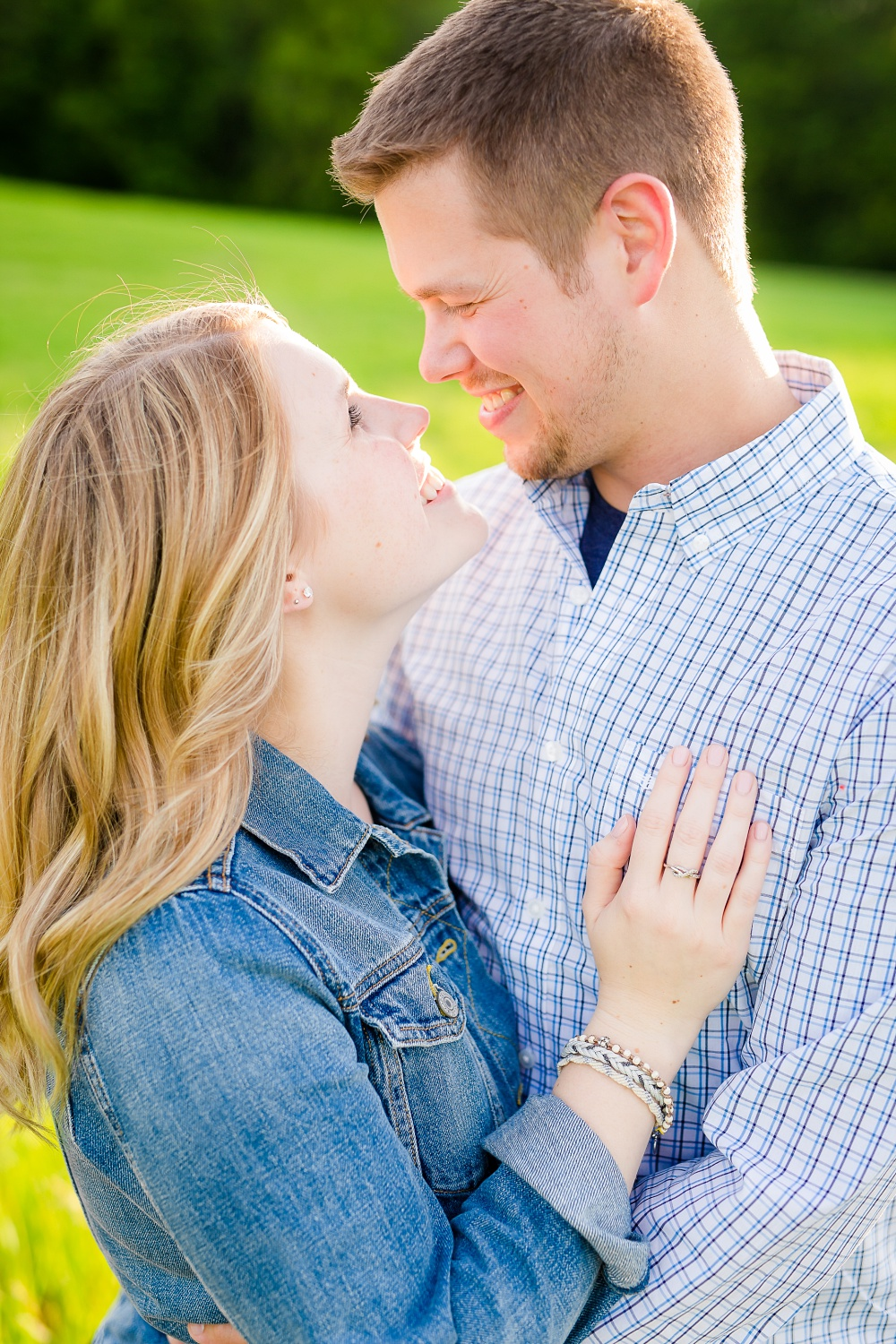 Close-up couple looking at each other | Outdoor, country styled engagement session near Audubon, MN | Amer Langerud Photography