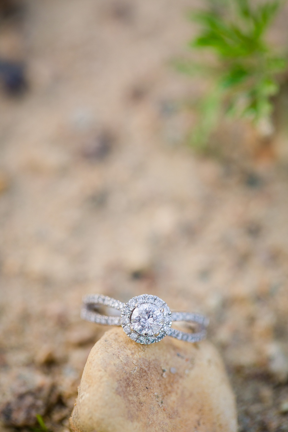 Engagement ring on rock | Outdoor, country styled engagement session near Audubon, MN | Amer Langerud Photography