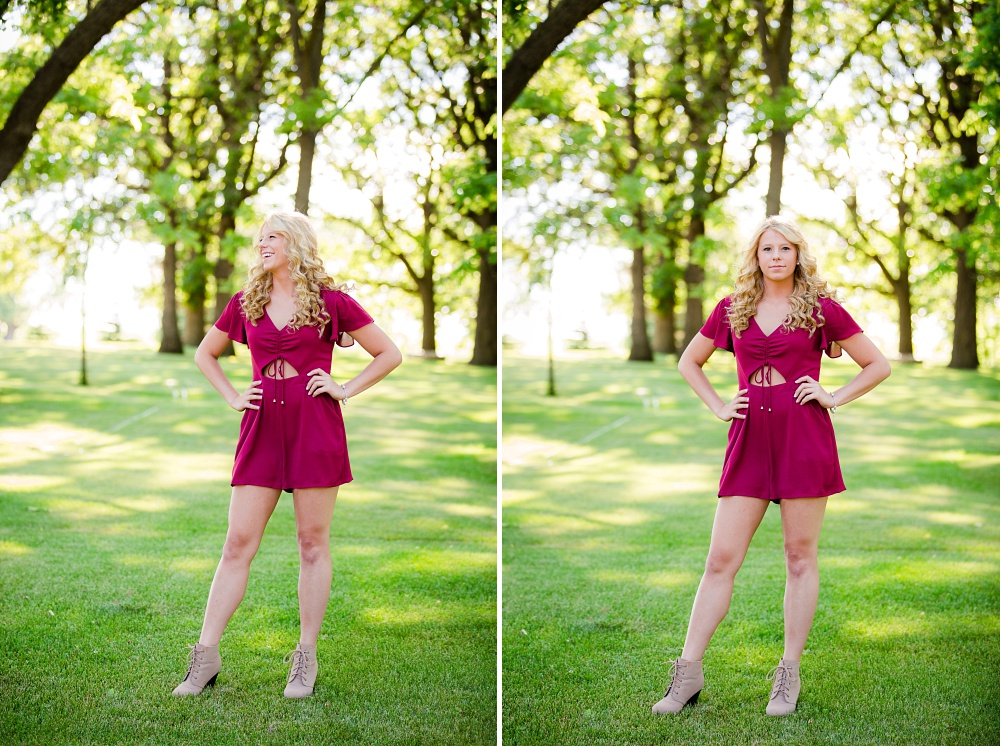Outdoor, country and basketball styled senior pictures near Audubon, MN | Amber Langerud Photography | high school senior photo in maroon romper