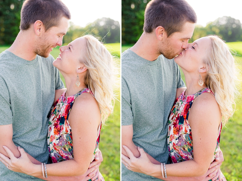 Outdoor, Country Styled Engagement Session with Their Puppy near Audubon, MN | Amber Langerud Photography | Couple kissing