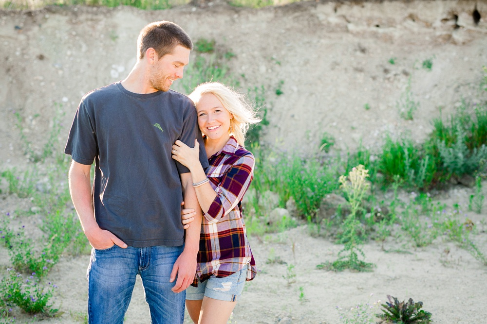 Outdoor, Country Styled Engagement Session with Their Puppy near Audubon, MN | Amber Langerud Photography | Happy couple