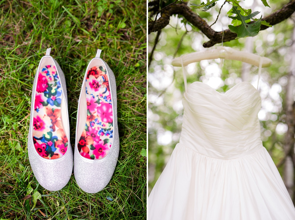 Wolf Lake, MN Country Styled Wedding, White Dress, Blue Suite | Photographed by Amber Langerud Photography | Wedding Dress & Shoes by green grass