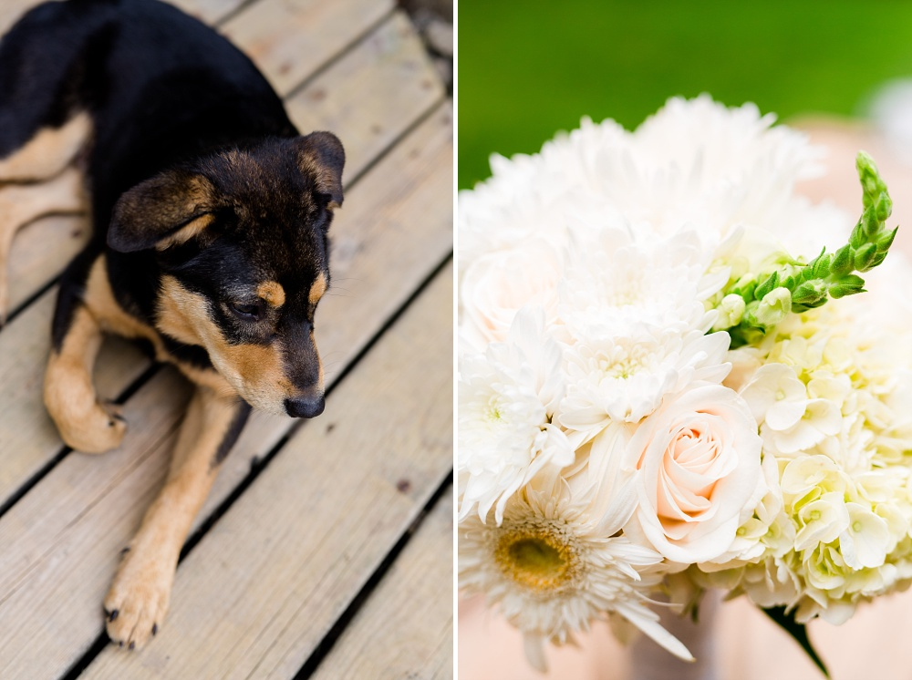 Wolf Lake, MN Country Styled Wedding, White Dress, Blue Suite | Photographed by Amber Langerud Photography | A puppy & wedding bouquet