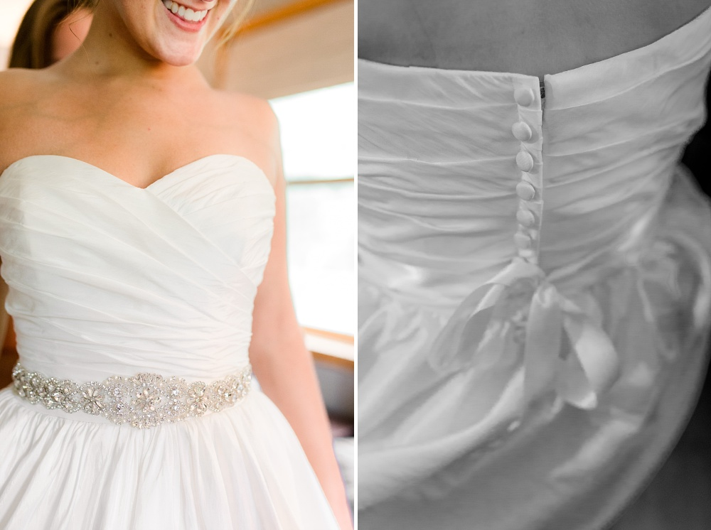 Wolf Lake, MN Country Styled Wedding, White Dress, Blue Suite | Photographed by Amber Langerud Photography | Bridal Dress Details