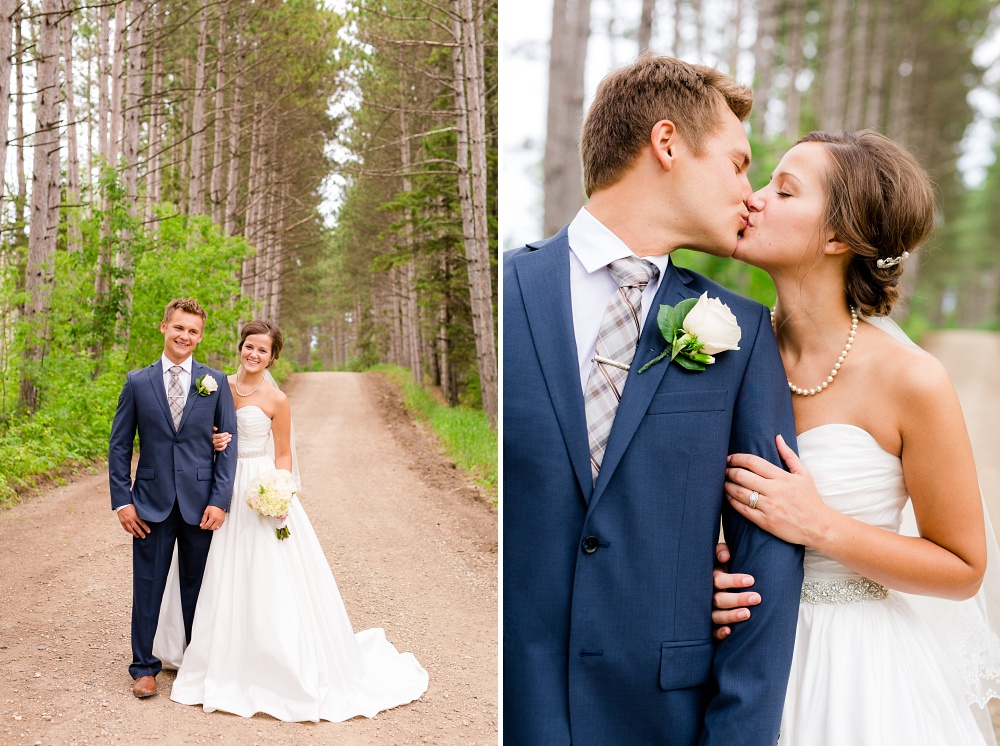 Wolf Lake, MN Country Styled Wedding, White Dress, Blue Suite | Photographed by Amber Langerud Photography | Bride & Groom Kissing
