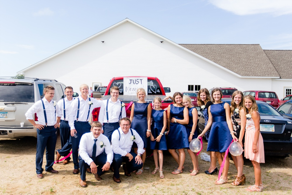 Wolf Lake, MN Country Styled Wedding, White Dress, Blue Suite | Photographed by Amber Langerud Photography | Wedding Car Decoration