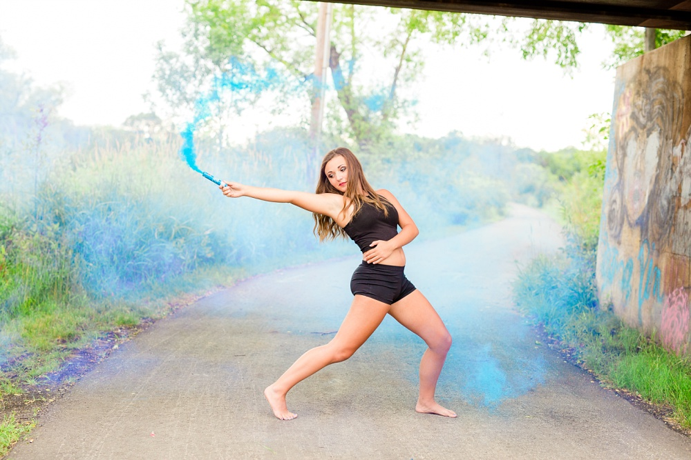 Urban Styled High School Senior Portraits in Detroit Lakes, MN | Photographed by Amber Langerud Photography | Dancer & Blue Smoke Bomb