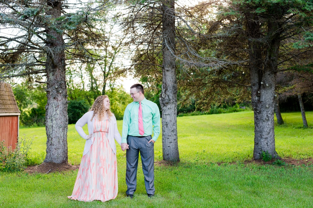 Minnesota Country Styled Engagement Pictures by Amber Langerud Photography | Couple in open pose looking at each other