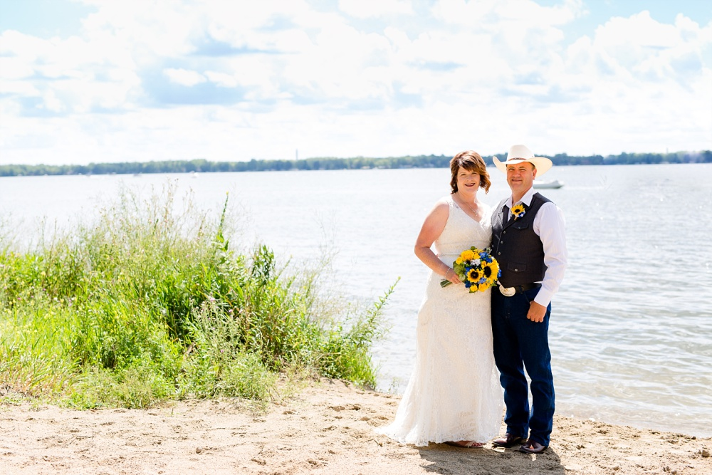Detroit Lakes, MN Country Styled Wedding at Trinity Lutheran Church & Holmes Ballroom Photographed by Amber Langerud Photography | bride & groom by Detroit Lake