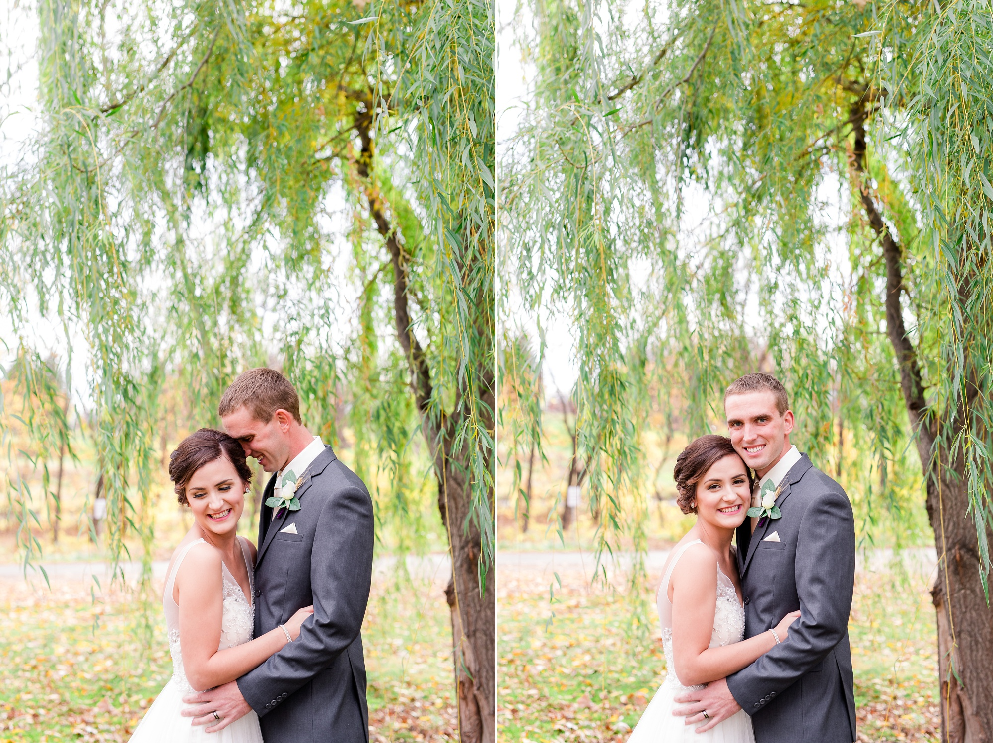 Wedding Portraits by a Willow Tree by Amber Langerud Photography
