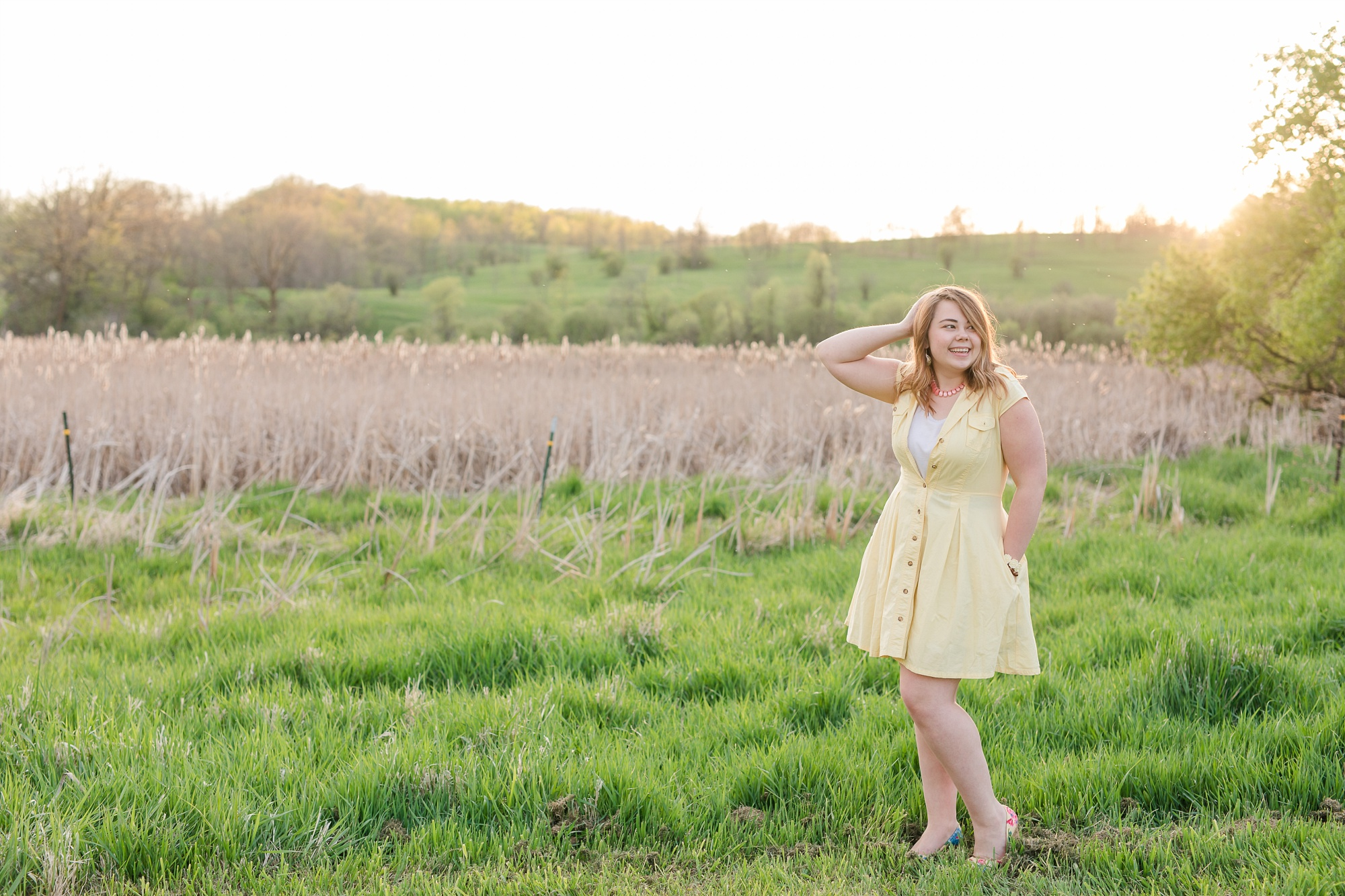 Country & Gold Sequin Styled Portrait Session near Audubon, MN | Dorothy | In a golden/green field | yellow dress | Spring Session | Styled Shoot
