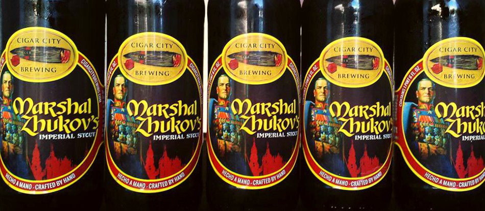 """""""Marshal Zhukov's, the heart and soul of Cigar City Brewing's imperial stout lineup, is a midnight-black monolith boasting aromas of espresso beans and raisins with a palate full of bitter chocolate, herbal   bitterness   and dry toffee. Fudge-like without being cloying,   roasty   without being acrid and built to develop further complexity over time when properly cellared, Zhukov's holds a very special place with our brewers and with craft beer fans all over the world."""""""