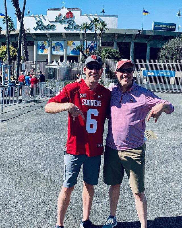Collective Office owner @brandonhensley ran into member Greg Dunn at the Rose Bowl. The two lone #BoomerSooner fans of @collecticeoffice