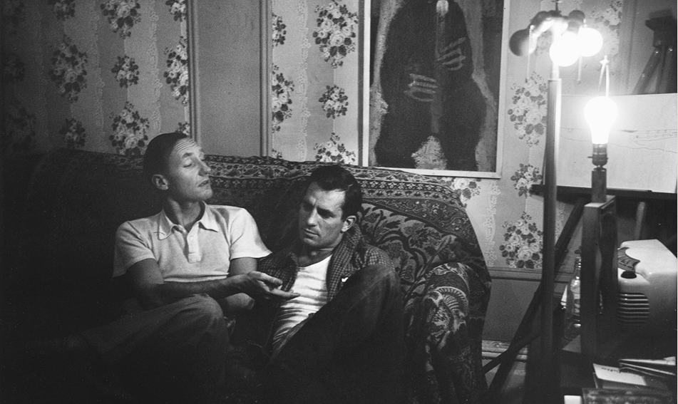 William S. Burroughs and Jack Kerouac, photographed by Allen Ginsberg in his East Village living room, New York City, 1953.
