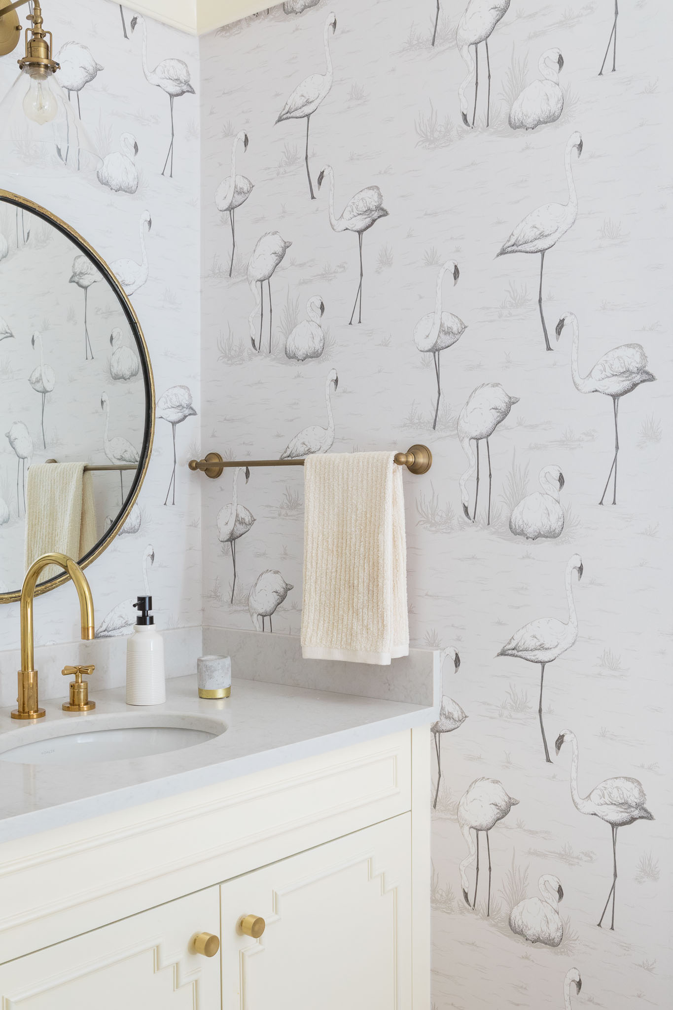 bathroom-powder room-wallpaper-flamingoes-brass accents.jpg