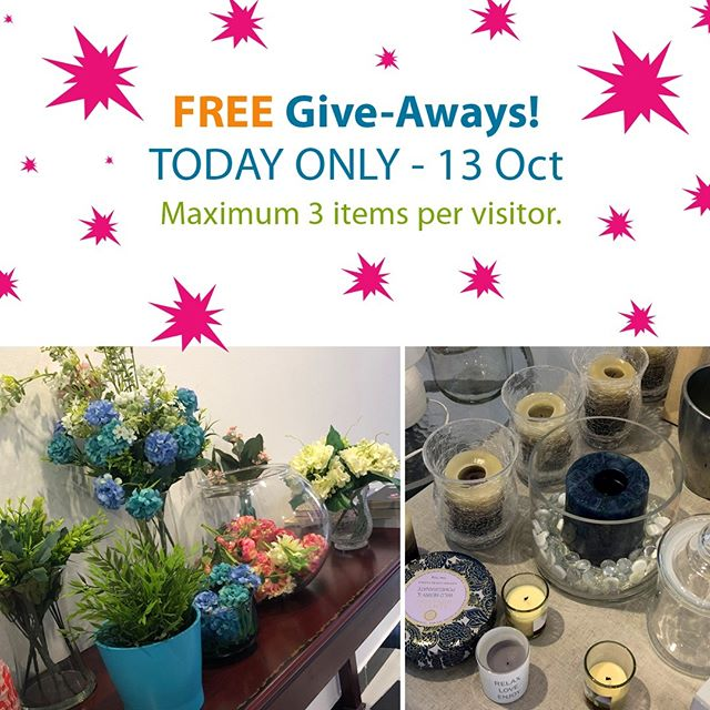 TODAY only -- FREE Give-Aways. Doors open at 14:00.  3 items per person only so we can share the love!