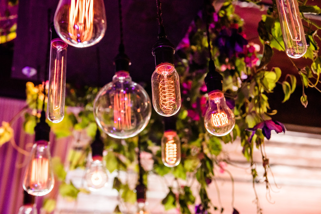 Within Sodo Wedding | Edison Bulb Chandelier | Affinity Photography | Seattle Wedding Planner | New Creations Weddings