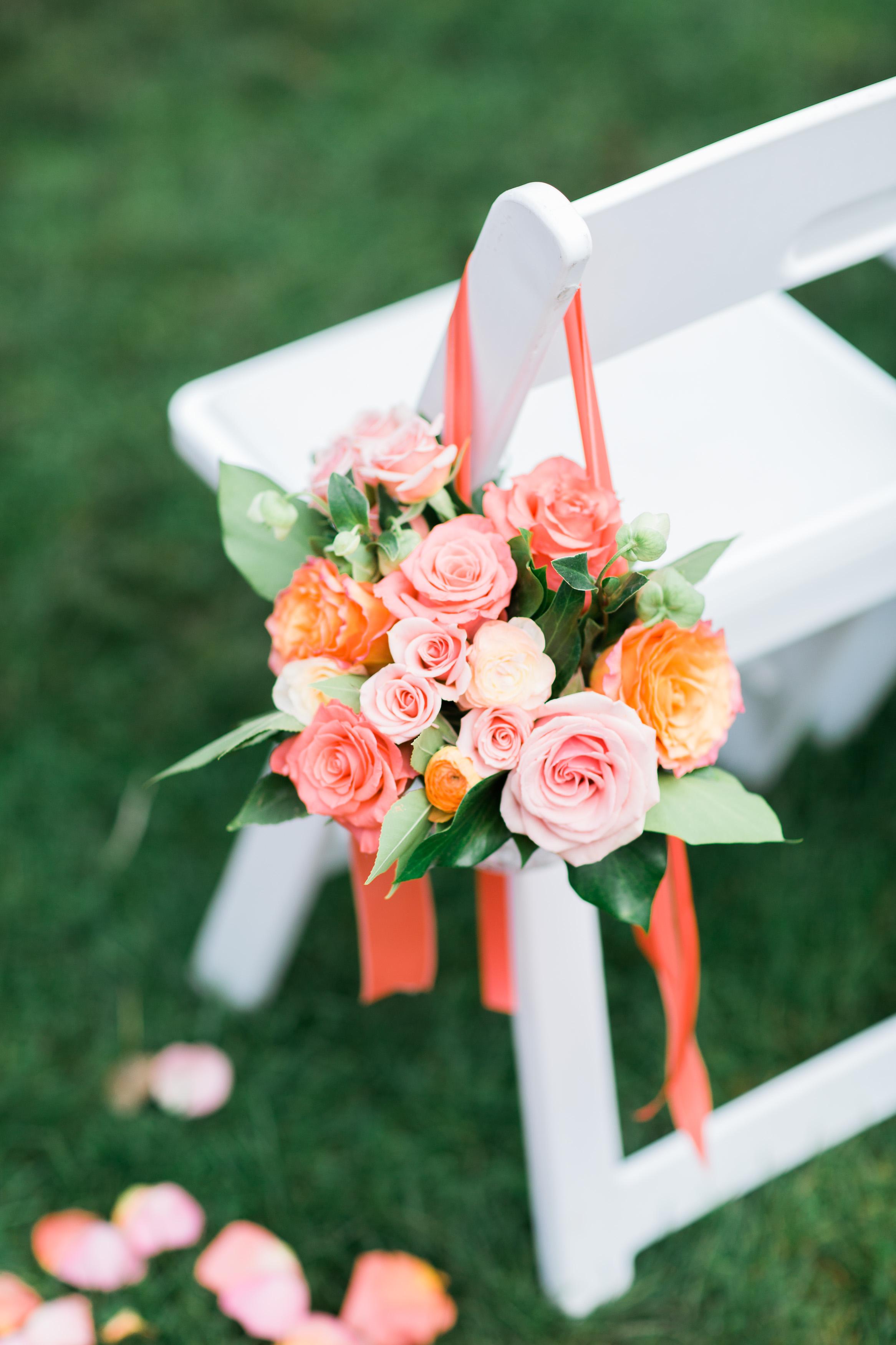 Peach and Pink Aisle Decor   Chair Posey   Wedding Flowers   Asgari Photography   Parsons Garden Wedding   Seattle Wedding Planner