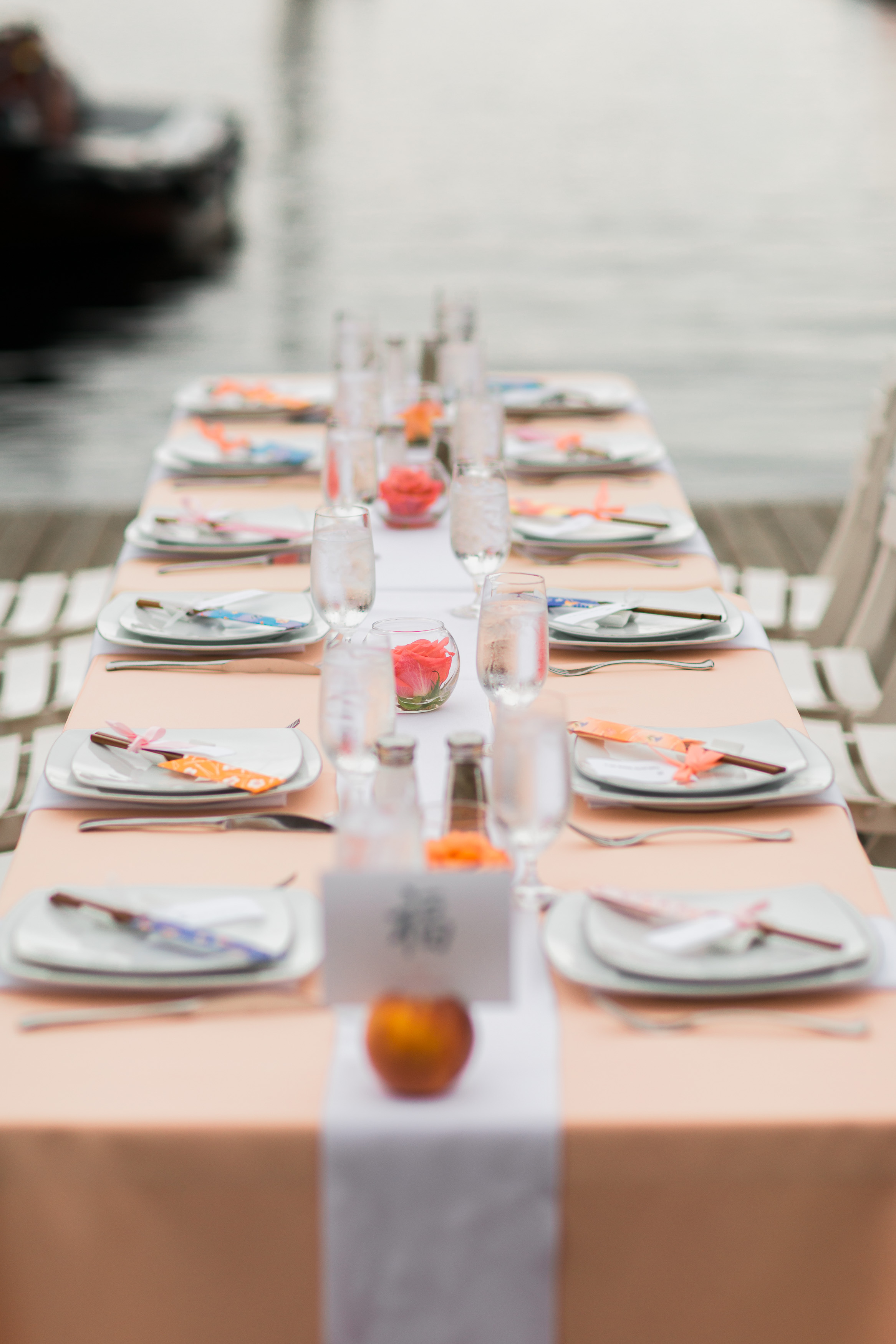 Pink and Peach Wedding Table Setting   Center for Wooden Boats   Asgari Photography   Seattle Wedding Planner   Chinese Wedding Planner