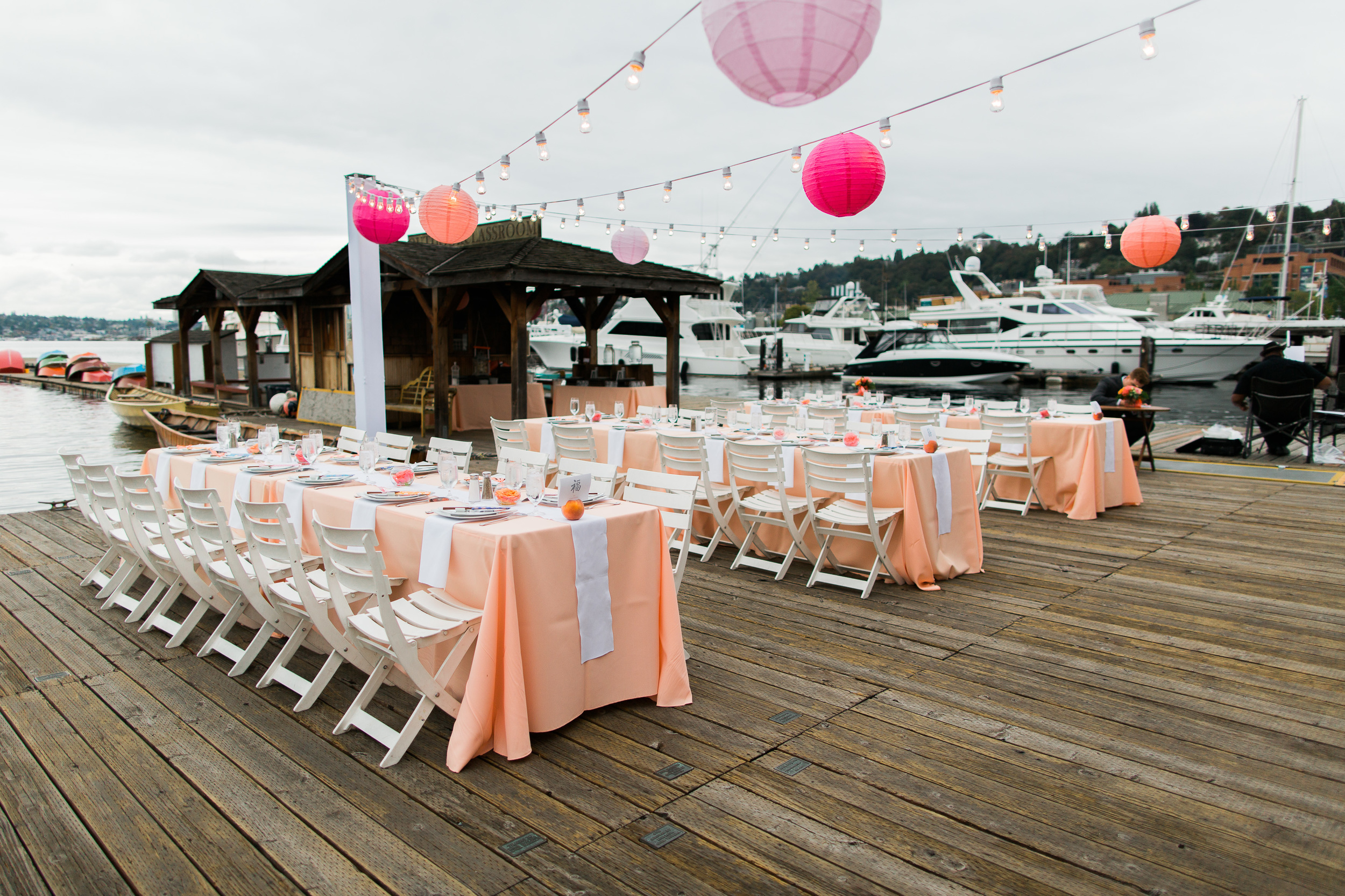 Peach Wedding Tables   Pink and Peach Wedding   Center for Wooden Boats   Chinese Lanterns   Asgari Photography   Seattle Wedding Planner   Chinese Wedding Planner