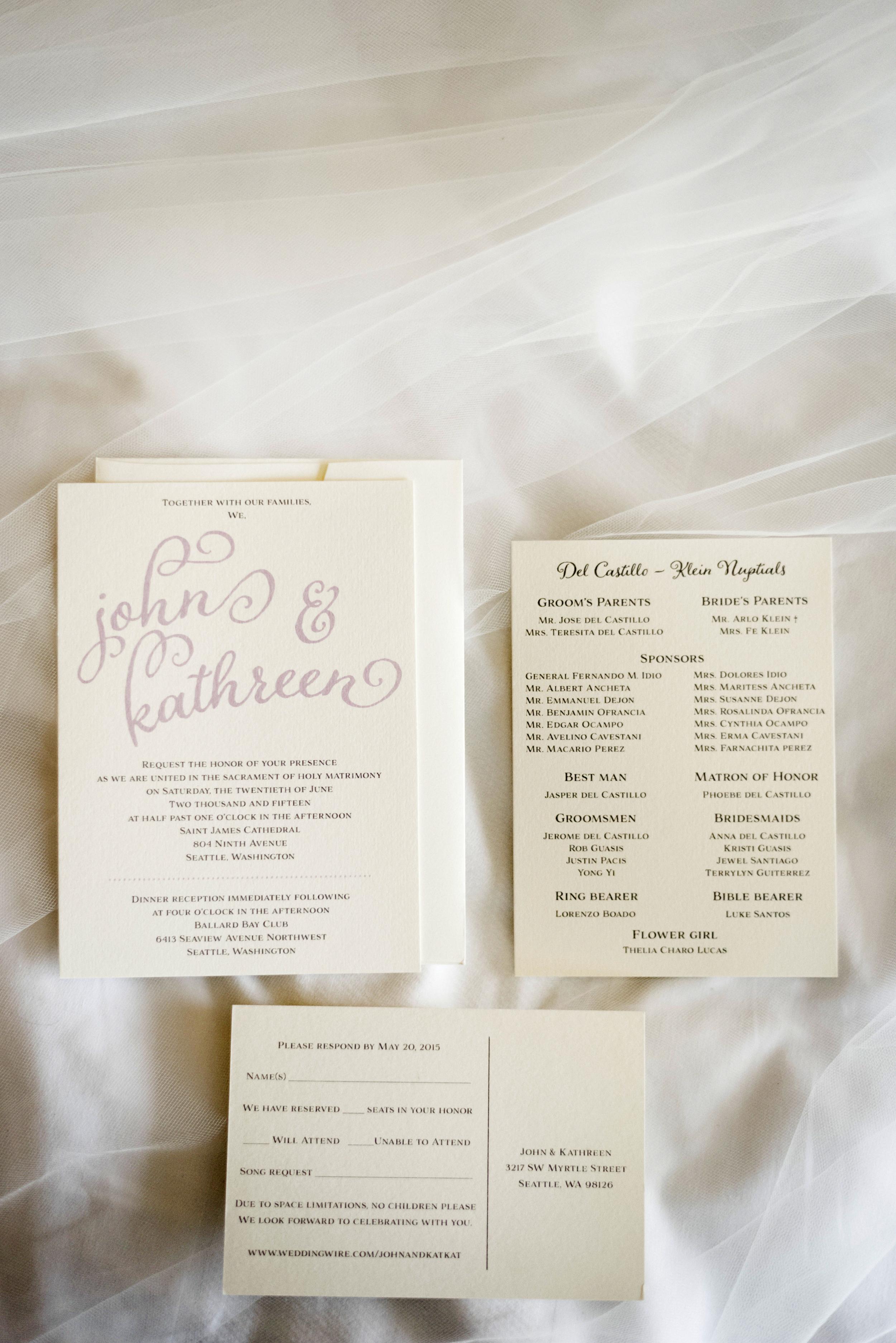 Wedding Invitation | Joe and Patience Photography | Filipino Wedding Planner | Seattle Wedding Planner | Ballard Bay Club Wedding