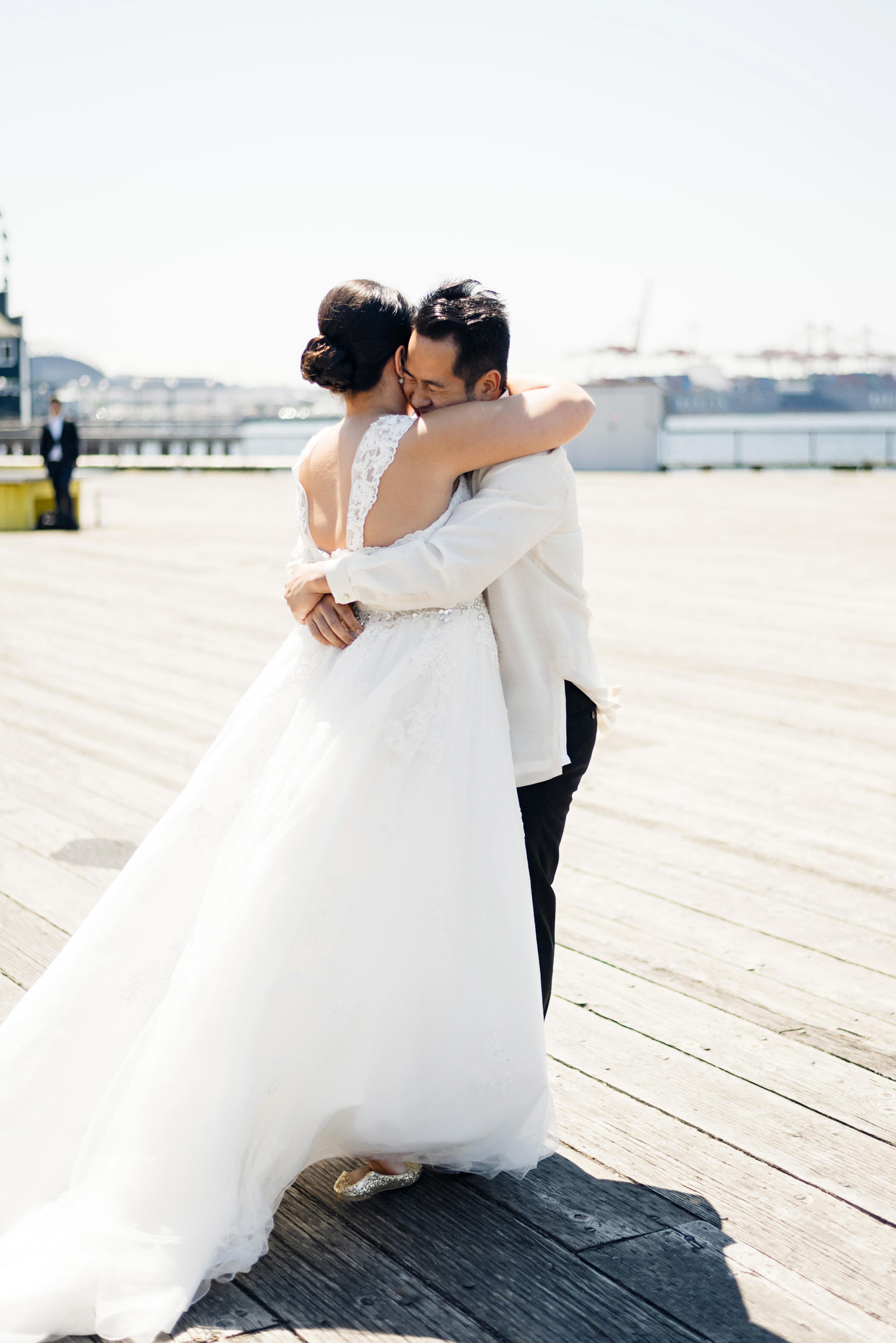 First Look Photo | Joe and Patience Photography | Filipino Wedding Planner | Seattle Wedding Planner | Ballard Bay Club Wedding