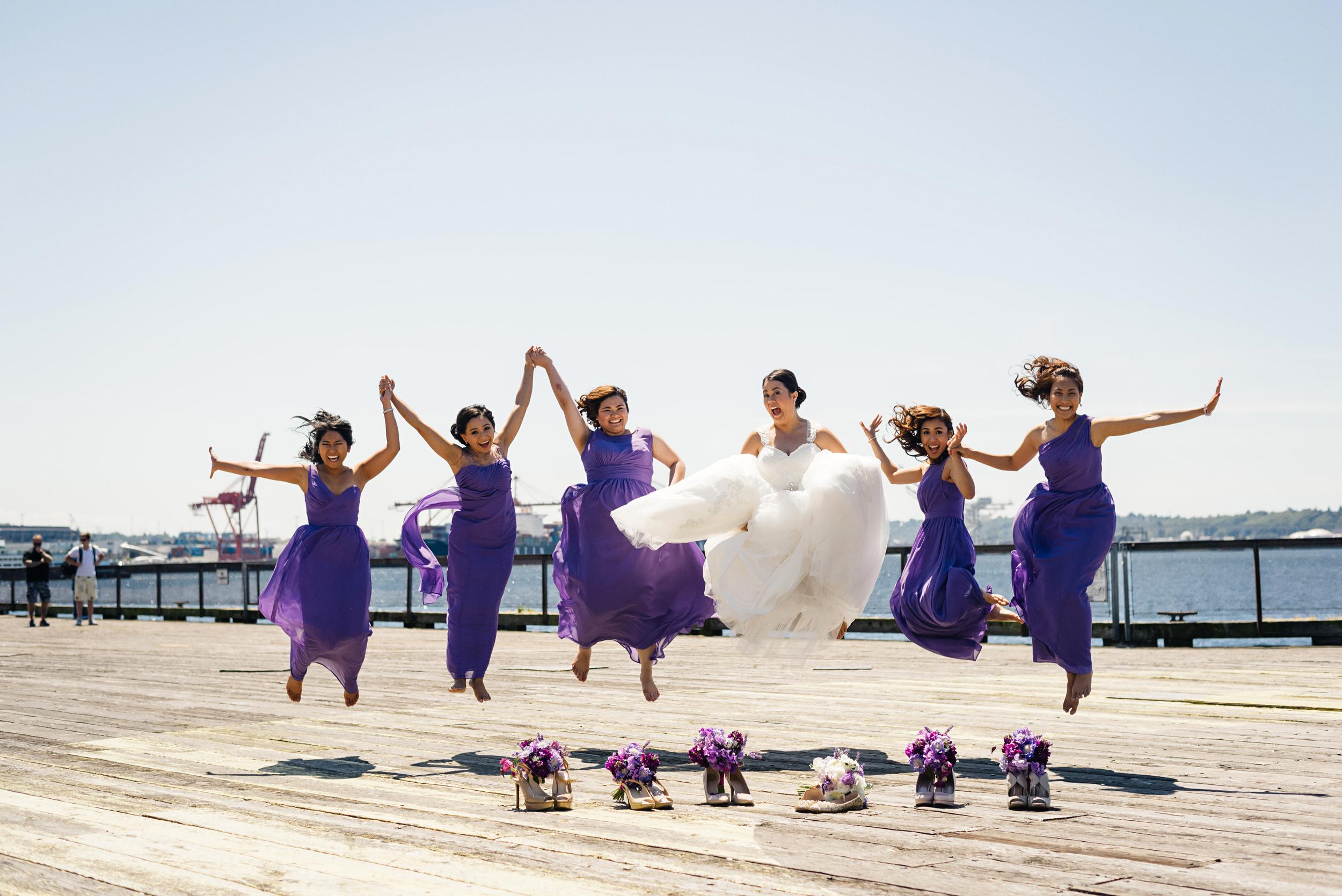 Purple Bridesmaids Dresses | Bridesmaids Jumping Photo | Joe and Patience Photography | Filipino Wedding Planner | Seattle Wedding Planner | Ballard Bay Club Wedding