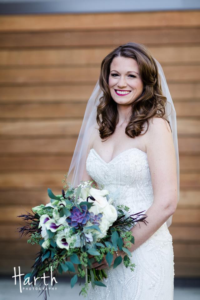 Purple Garden Inspired Wedding Bouquet at Willows Lodge