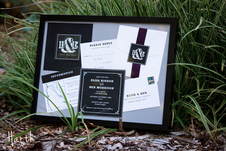 Purple Wedding Invitation Suite at Willows Lodge