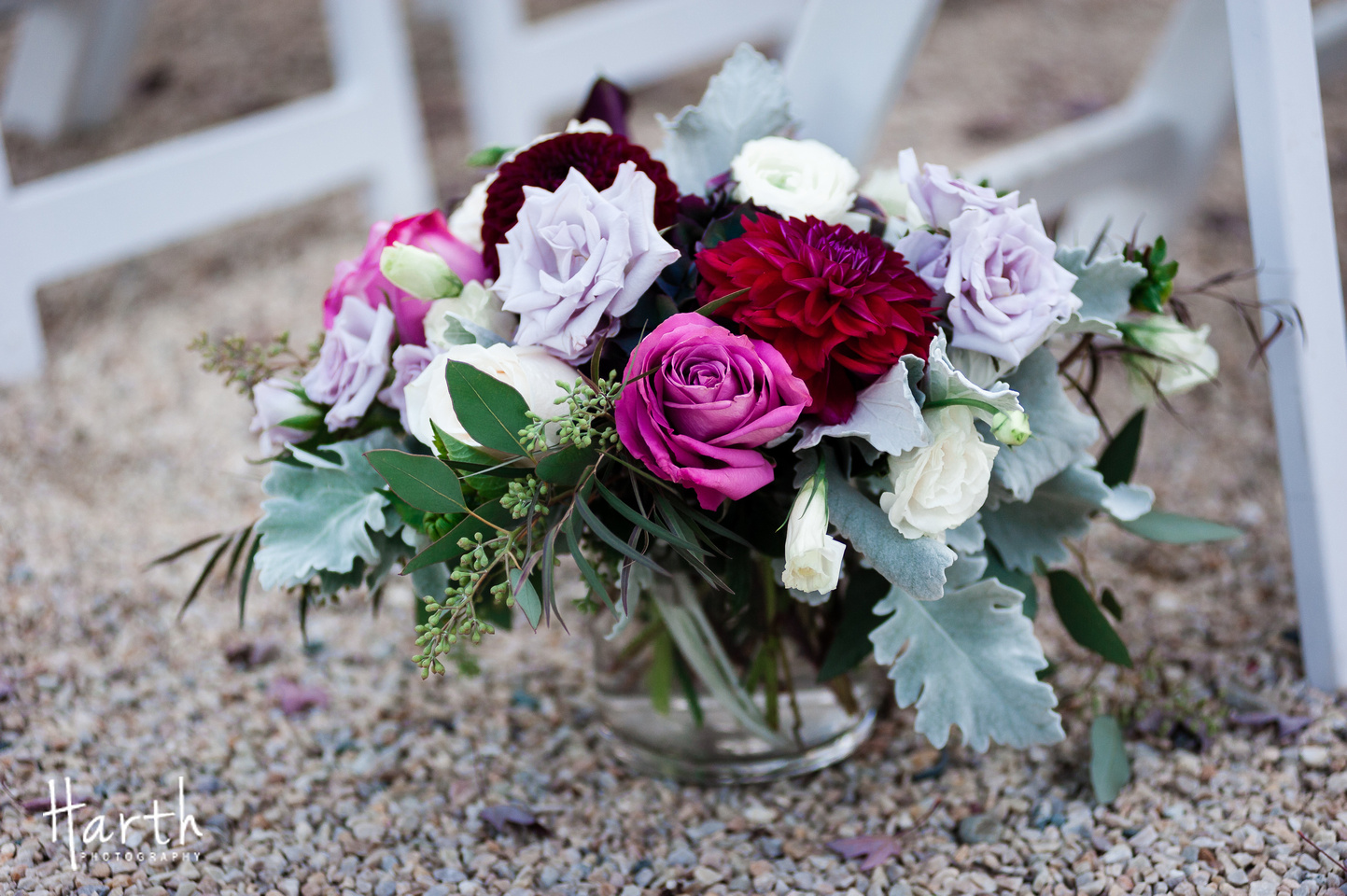 Purple Ivory and Red Wedding Arrangement at Novelty Hill Januik Winery Wedding