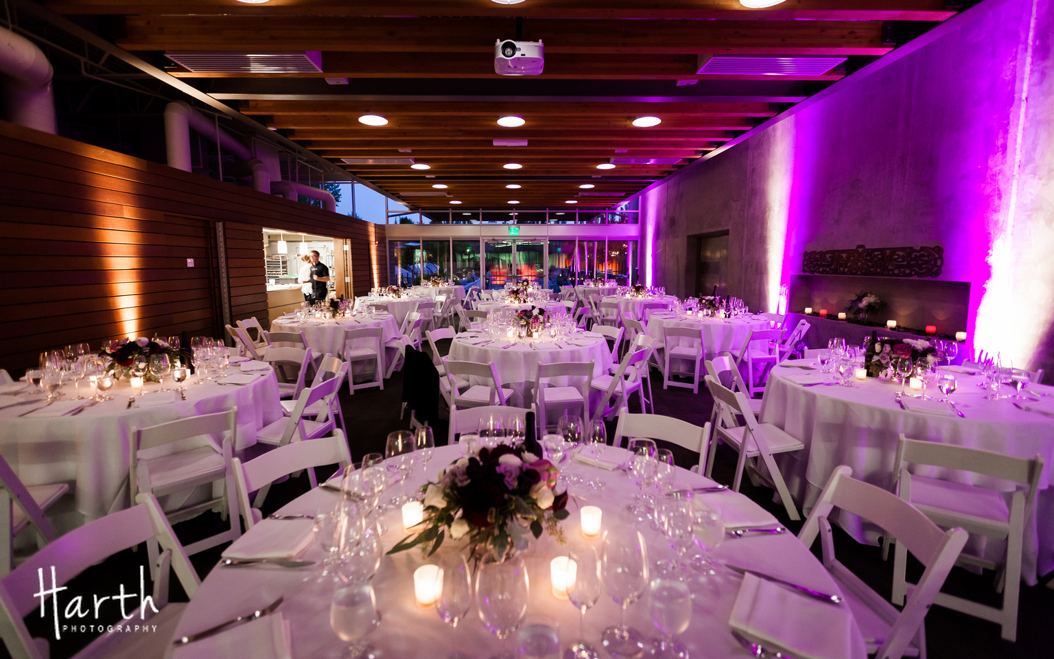 Purple Up-Lighting for Fall Wedding at Novelty Hill Januik Winery