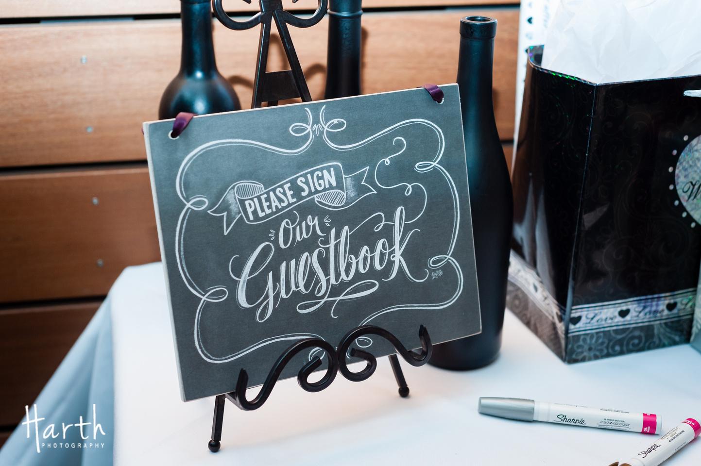 Guestbook Chalkboard Signage at Fall Wedding at Novelty Hill Januik Winery