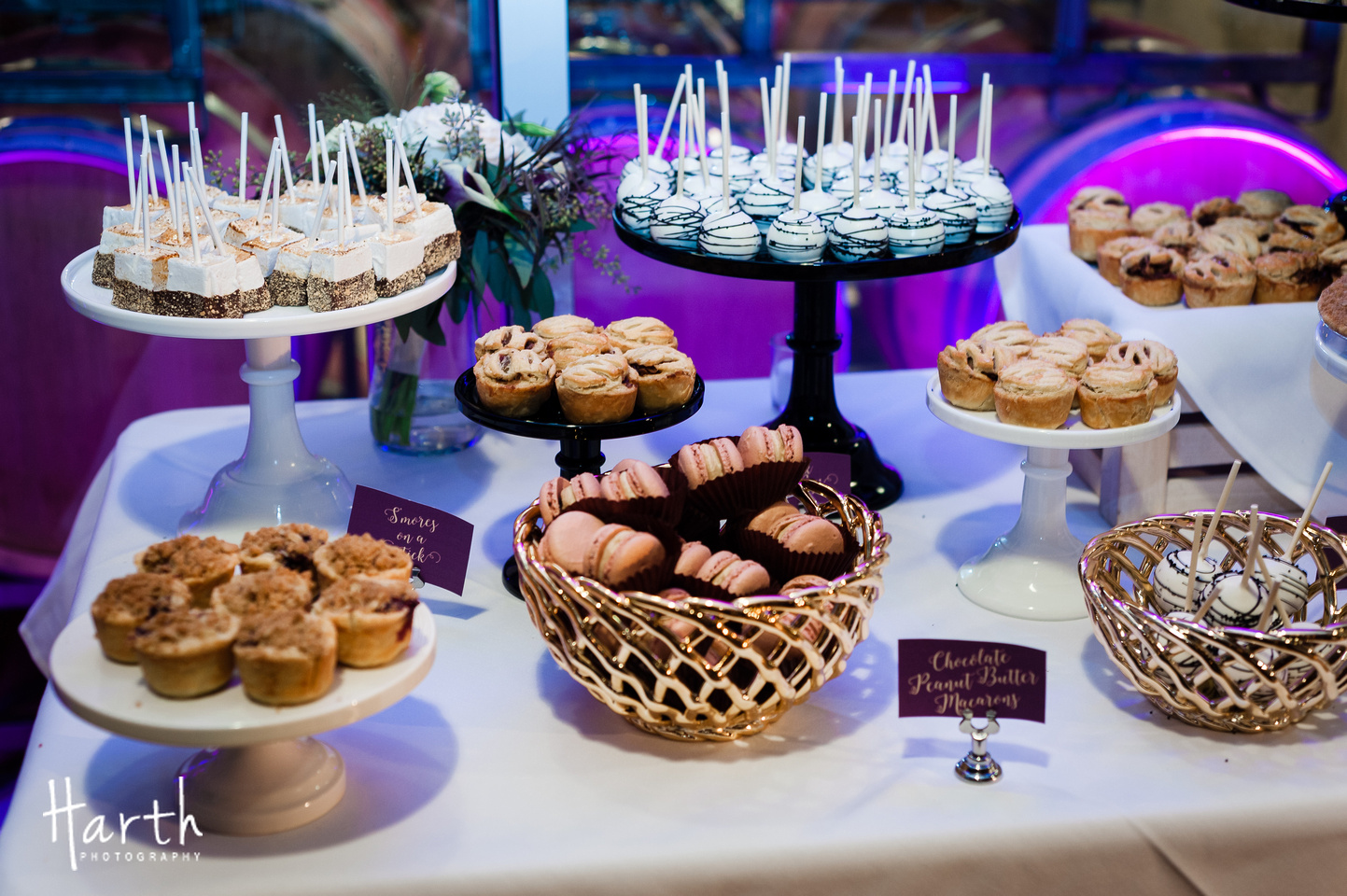 Dessert Display Table for Fall Wedding at Novelty Hill Januik Winery