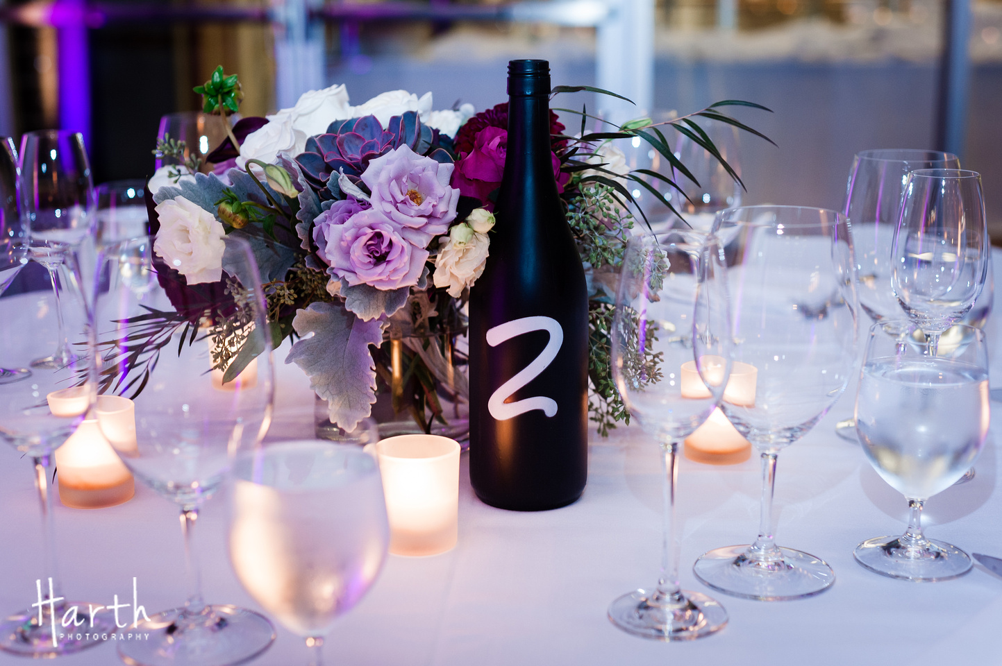 Wine Bottle Table Number for Fall Wedding at Novelty Hill Januik Winery