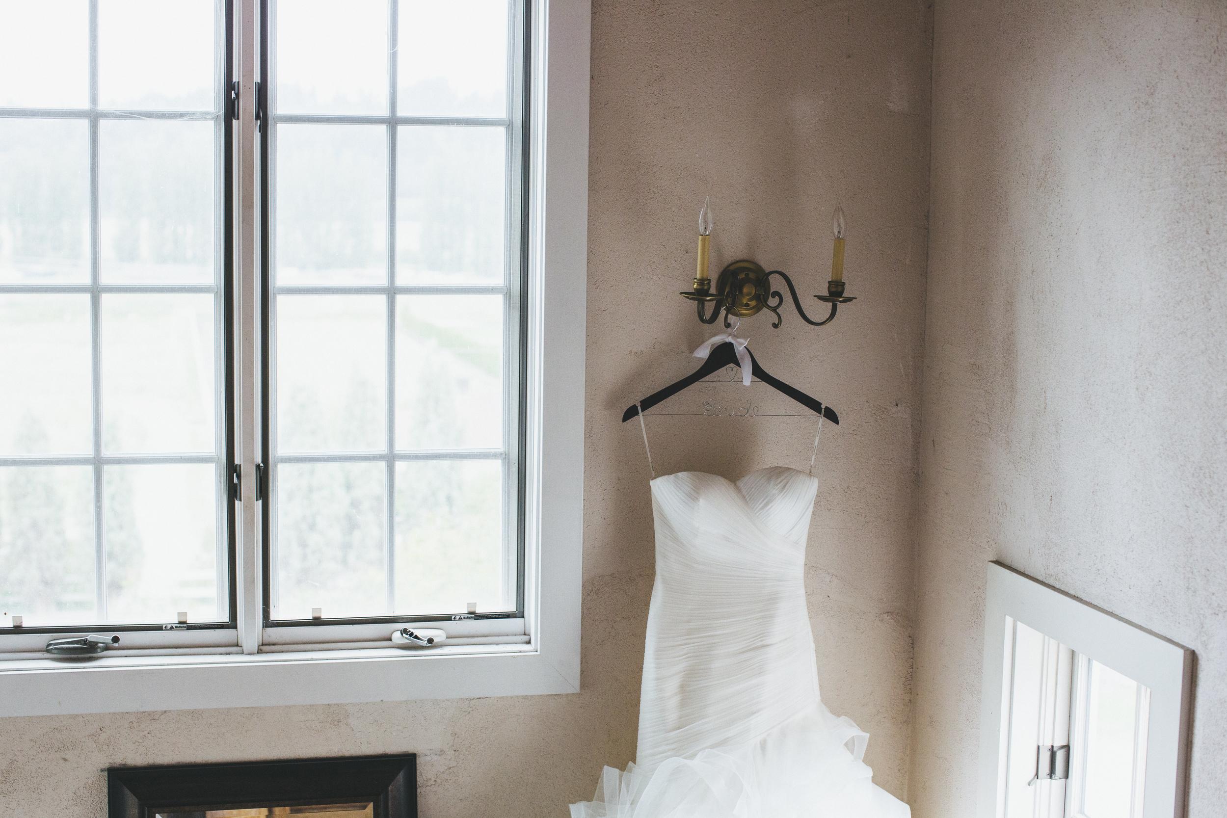 Ruffle Wedding Gown on Customized Wedding Hanger