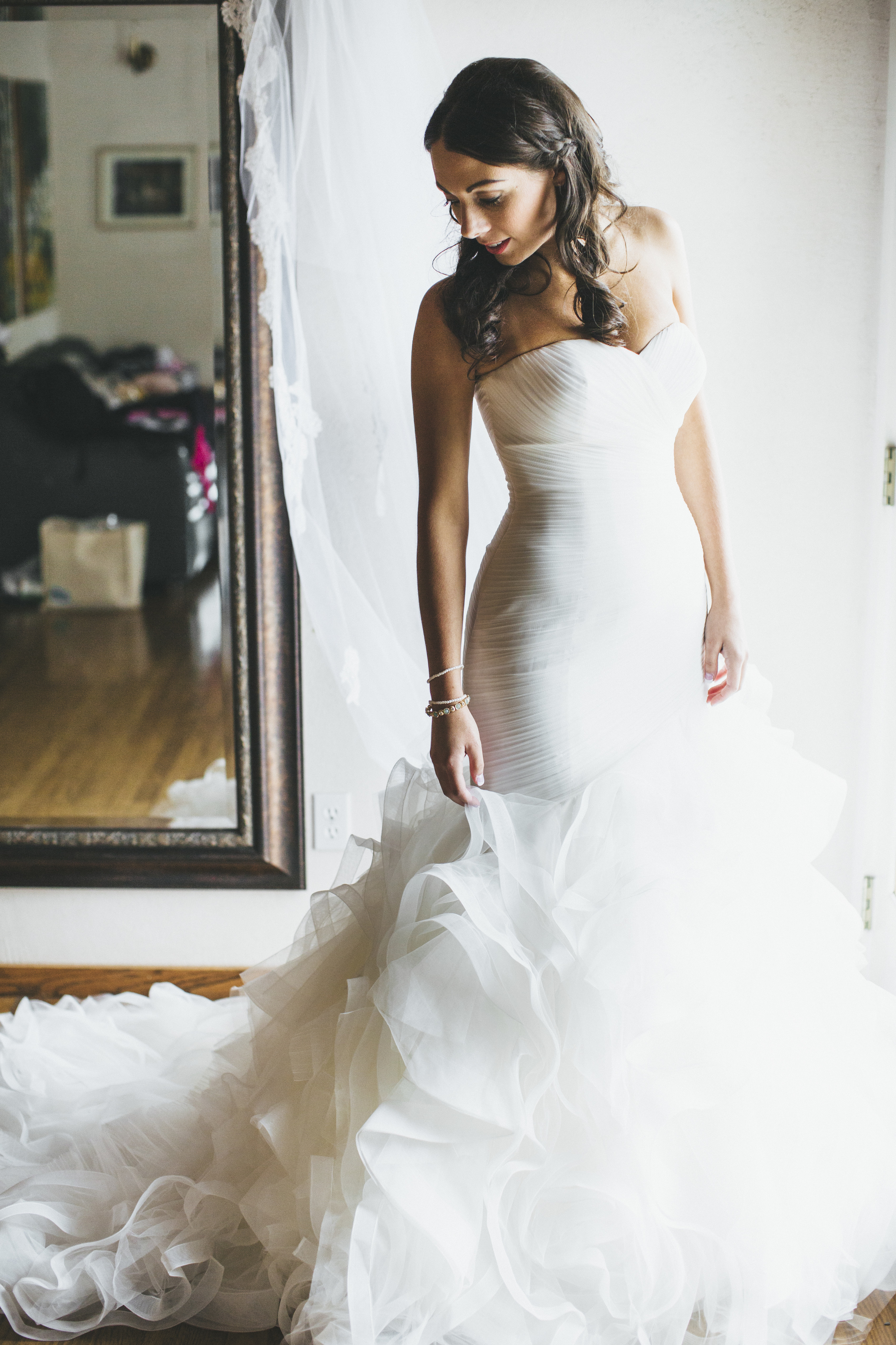 Mermaid Style Ruffled Wedding Gown